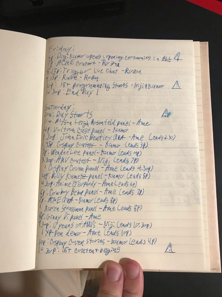 Photo of a hand-written schedule for DigiKumo.