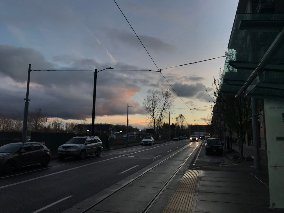 Photo of an overcast sunset looking south from South Bond & Lane