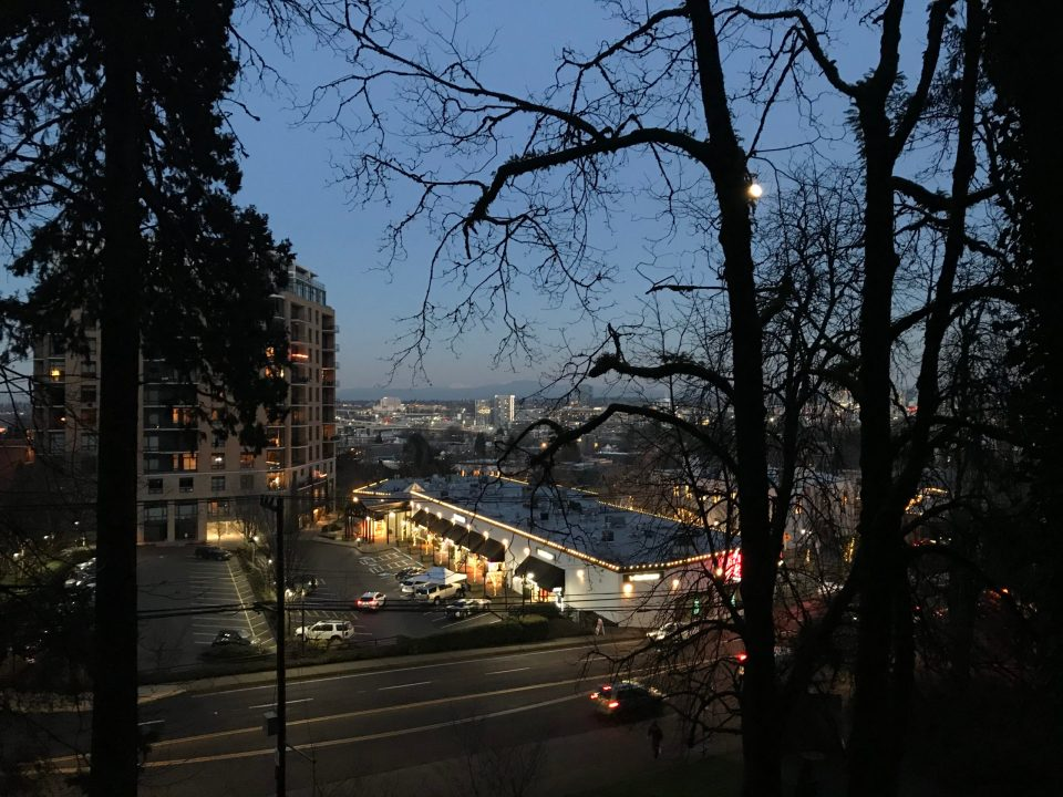 Photo of the Nob Hill cityscape at night in Portland.