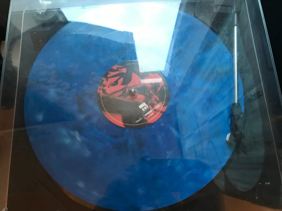 "Photo of disk one, side A of the ""Cowboy Bebop"" vinyl on a turntable."