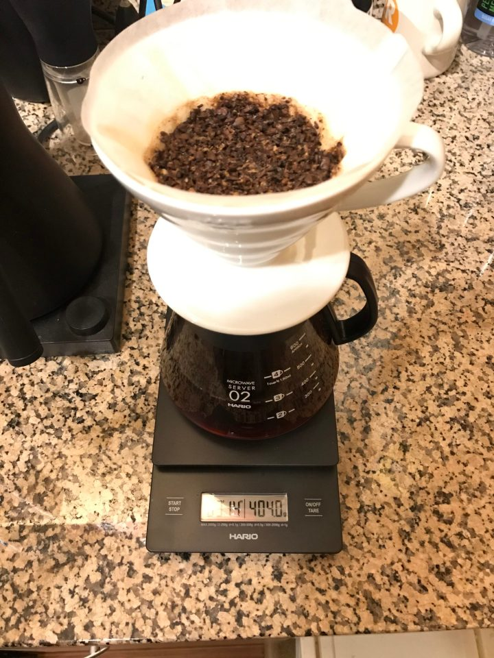 Photo of a coffee scale showing 404 grams of coffee (an HTTP 404 error means File Not Found).