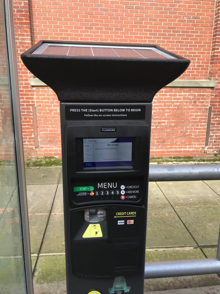 Photo of a completely redesigned Portland Streetcar platform ticket machine.
