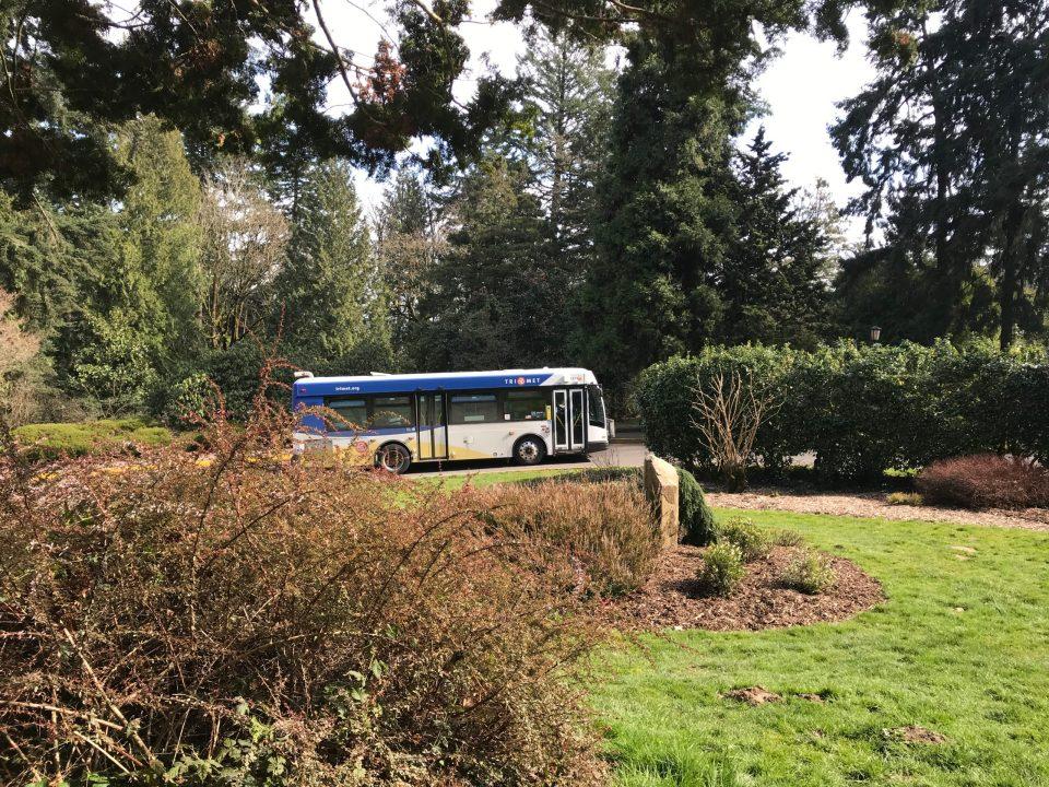 Photo of a TriMet line 63 bus in Washington Park.