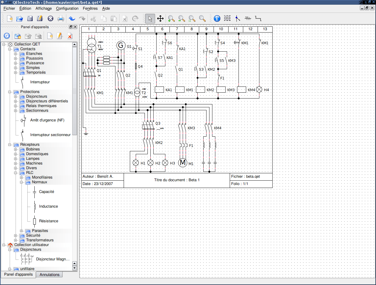 QElectrotech : Open Source Electric Diagrams Application