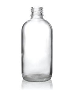 4 oz Clear Boston Round Hybrid Glass Bottle with 20-400 Neck Finish