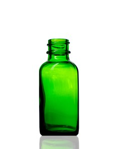 1 oz Boston Round Glass Green Bottle with 20-400 Neck Finish