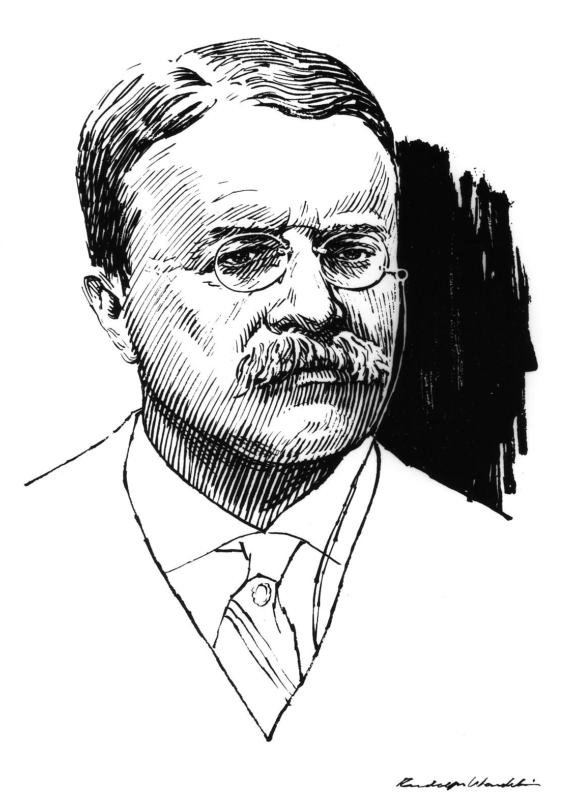 Sketch of Theodore Roosevelt, by Rudy Wendelin