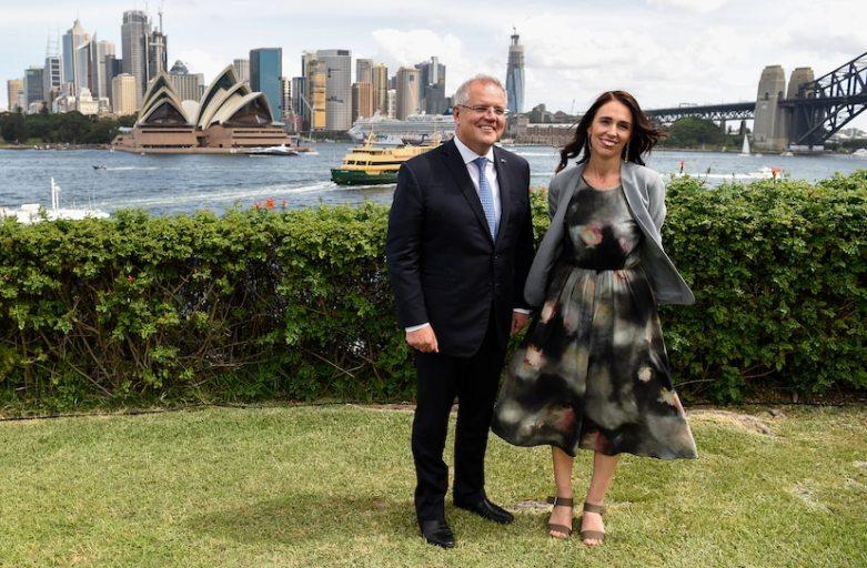 Australian Prime Minister Scott Morrison and New Zealand Prime Minister Jacinda Ardern. Credit: BIANCA DE MARCHI/AAPIMAGE