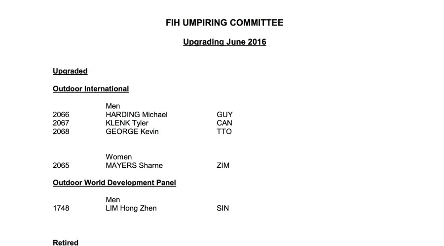 June FIH Upgrades