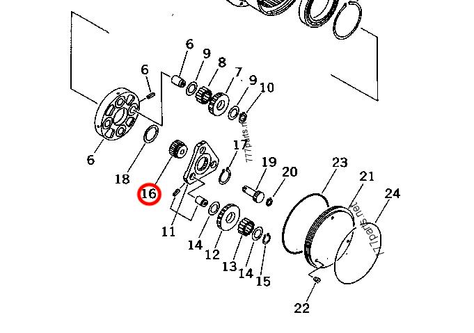 Koło zębate pośrednie setu redukcyjnego do KOMATSU PC25-1