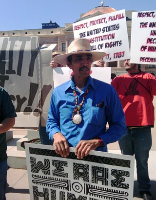 Activists like Tupac Enrique oppose a trespassing bill against immigrants that could become law this week.