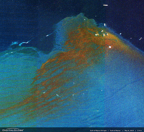 Satellite image of the oil spill clean up effort in the Gulf of Mexico - Credit: DigitalGlobe/Flickr