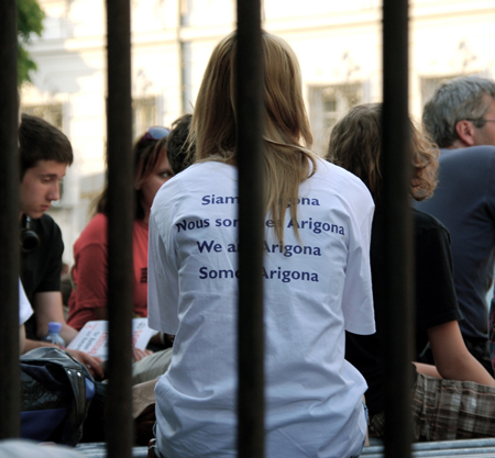"Woman wearing a ""We are Arigona"" shirt in solidarity with the Zogaj family's plight - Photo: Jelena Kopanja"