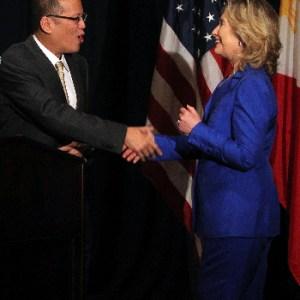 President of the Philippines Benigno Simeon  Aquino III greets US Secretary of State Hillary Rodham Clinton