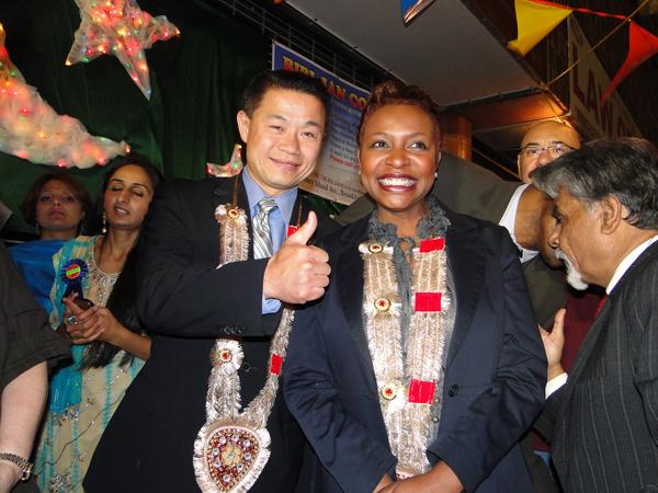 NYC Comptroller John Liu and U.S. Representative Yvette Clarke at a Chand Raat festival in Midwood, Brooklyn - Photo: Mohsin Zaheer