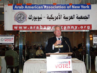 Congressman Mike McMahon tried to reach Muslim American voters at a candidates night hosted by the Arab American Association of NY, despite opposing the Park51 project - Photo: Mohsin Zaheer