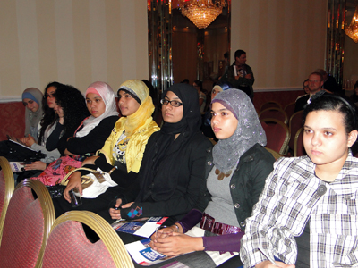 Muslim women listened to candidates speak at a forum hosted by the Arab American Association of NY - Photo: Mohsin Zaheer