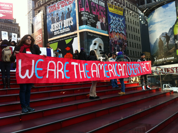 Documented and undocumented youth rally for passage of the Dream Act in Times Square - Photo: Sarah Kramer