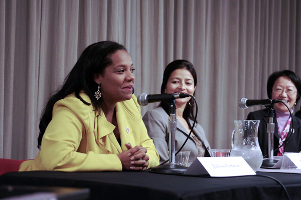 Council Member Julissa Ferrras (left), with Sayu Bhojwani and Council Member Margaret Chin