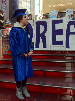 Melissa Garcia-Velez, an 18 year old 'DREAMer' at a rally in New York