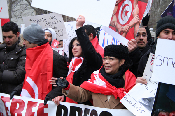 Tunisian immigrants in New York showed their support for the revolution - Photo: Merel van Beeren