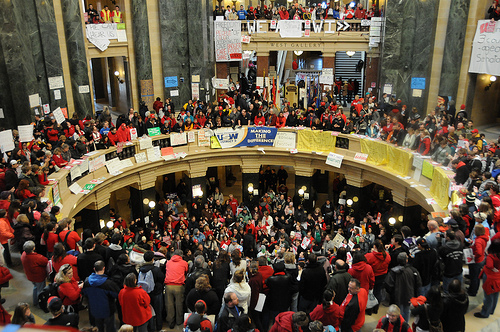 Union supporters protest at the Capitol in Madison, WI