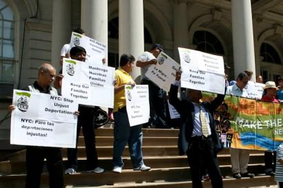 Protestors against CAP at City Hall