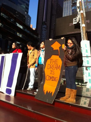 Girl holding sign at a 2010 DREAM Act rally in New York