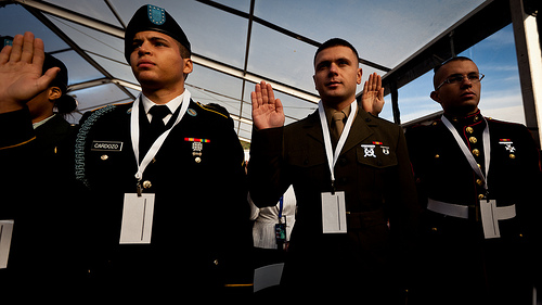 Marine is sworn in as a US Citizen