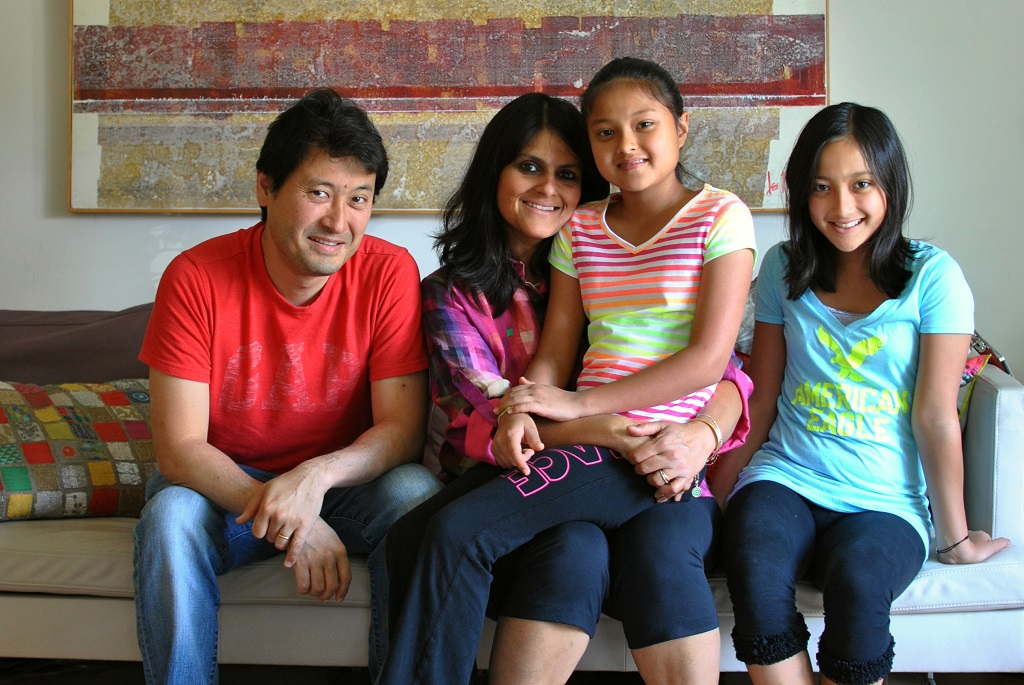 Yozo and Malini Sood Horiuchi, with their daughters - Photo by Lily Chin, lilychin.info