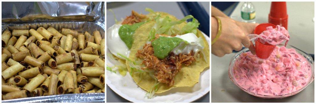 Filipino pork lumpia; Mexican tinga de pollo tostadas with salsa verde, crema, lettuce; and Filipino style fruit salad. Photo by Lily Chin, lilychin.info
