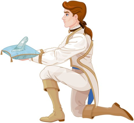 Graphic of Prince Charming with glass slipper