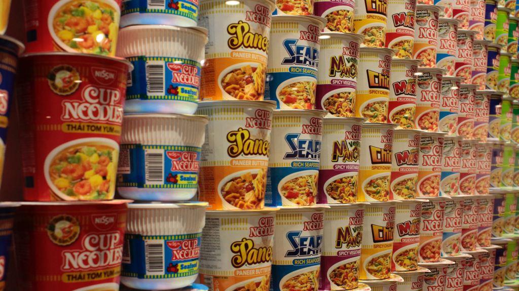 Rows of ramen on grocery shelf