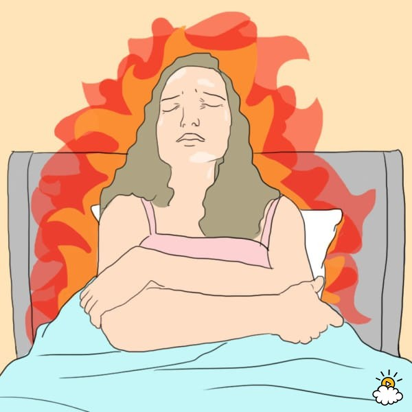 Graphic of menopausal women in bed with flames around her body