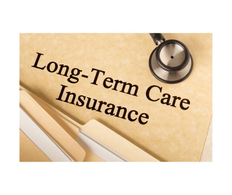 "Files, stethoscope, and the words ""Long Term Care Insurance"""