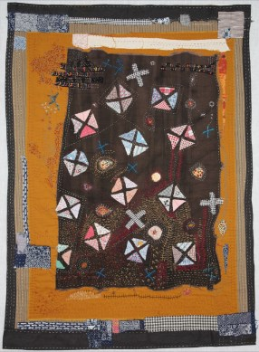 "Helen Geglio | Lost Art of Mending 2 Cotton, linen, hand embroidered and stitched, 2013 38"" x 37"""