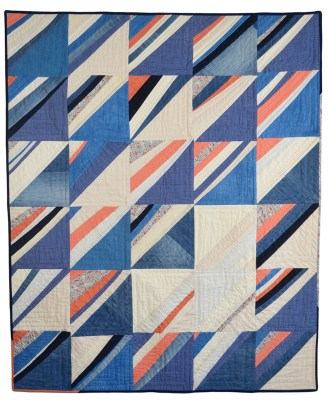 "Jamie Lyn Kara | Upstream Cotton, linen, raw silk, French cotton prints, demin, corduroy, red onion skin dyed linen and cotton, woad dyed cotton 51"" X 42"""