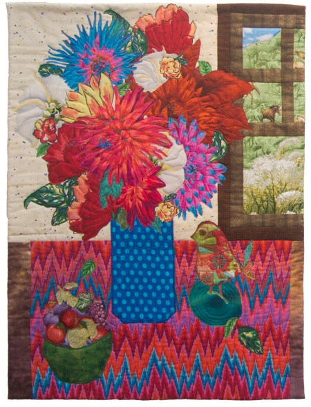 Katherine Simon Frank | Still Life with Dahlias Broderie Perse method of applique embroidery, 2015