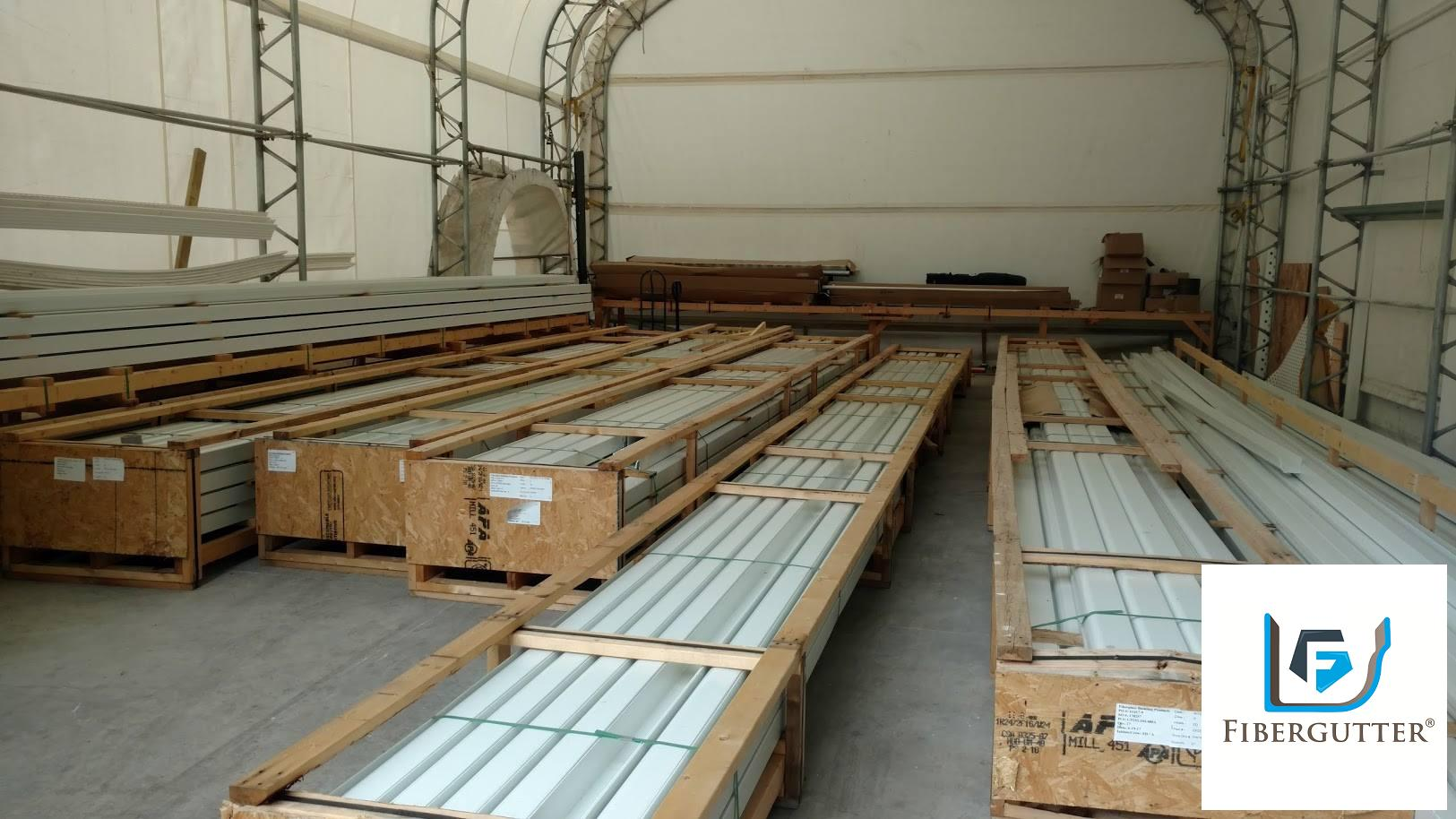 Fiberglass Gutter Storage Warehouse