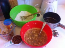 Dry ingredients, wet ingredients, butter, walnut and cinnamon chips - ready to be mixed together
