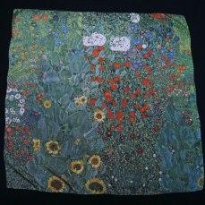 Klimt carre de soie jardin aux tournesols - Fibra Creativa