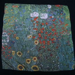 Large Klimt silk scarf Garden with sunflowers - Fibra Creativa