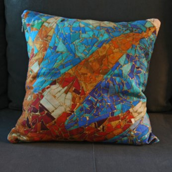 coussin imprimé mosaique Gaudi lin