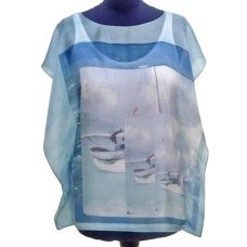 poncho de seda estampado a medida - Fibra Creativa