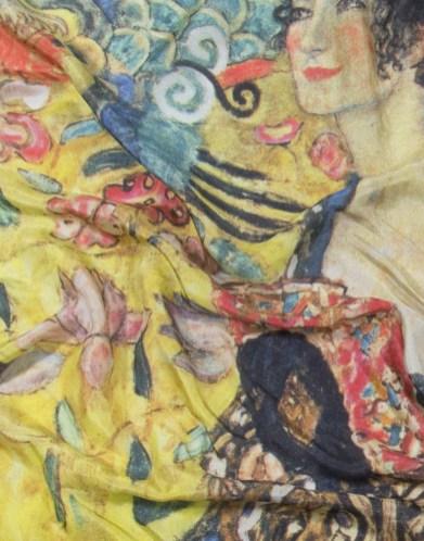 foulatrd Klimt Dame à l'éventail détail de l'impression haute définition sur soie