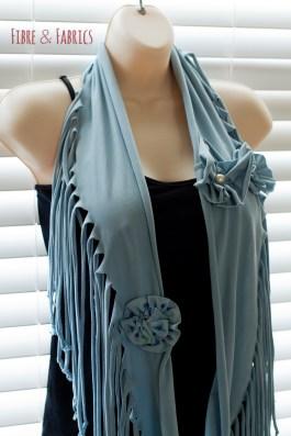 Eco Friendly Repurposed Powder Blue Flower Spring T-Shirt Infinity Scarf