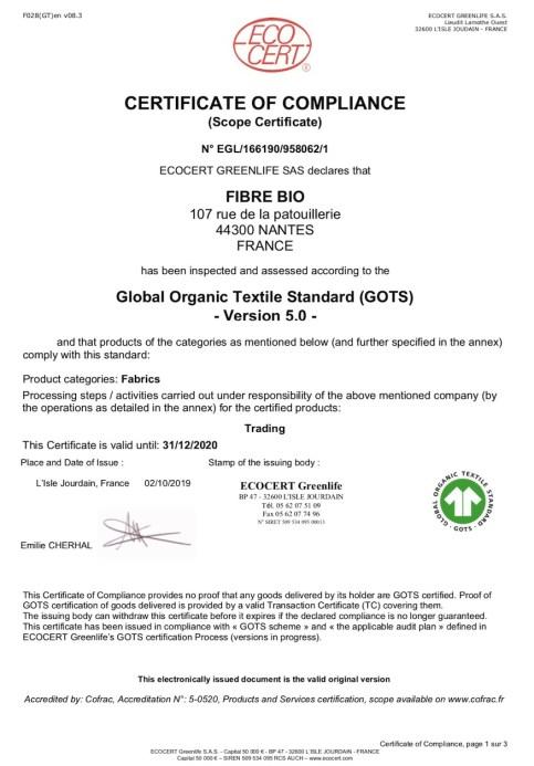 Certificat GOTS Fibre Bio