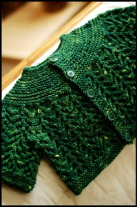 "The so-called ""February Baby Sweater,"" though officially it's the Baby Sweater on Two Needles (February), by Elizabeth Zimmermann."
