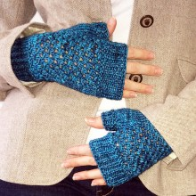 Peacock Blues Lace Fingerless Mittens by Kristina Phillips