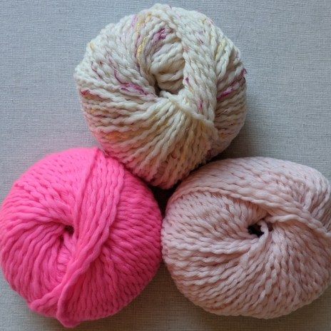 Dream Merino Worsted in Flamingo Tweed, Spicy Hot Pink, and Rococo Pink